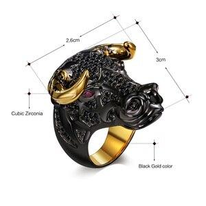 Image 5 - DreamCarnival 1989 массивное кольцо черного быка с золотыми рожками в стиле панк хип хоп CZ для мужчин и женщин, уличная мода SR2314