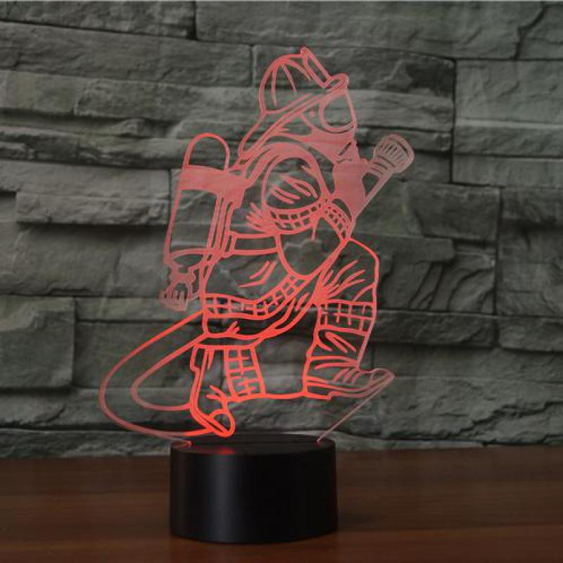 Novelty Lighting Fireman Table Lamp Bedroom Decor USB Touch Sensor 7 Color Changing Child Kids Gift Fire Fighter Night Light LED