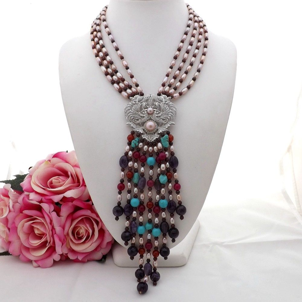 Chain Necklaces Jewelry & Accessories Active Ge072807 18 4strands Pearl Garnet Gems Stone Necklace Cz Pendant