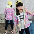 4-10 años muchachas de la capa niños del otoño chaqueta de algodón niñas impresos muchachas hoody ropa c506