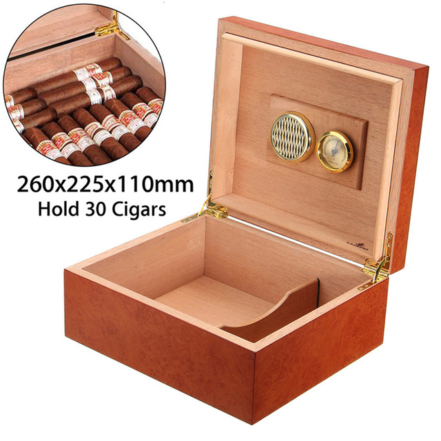 YKPuii 30 Count Cedar Wooden Lined Cigar Humidor Case Humidifier