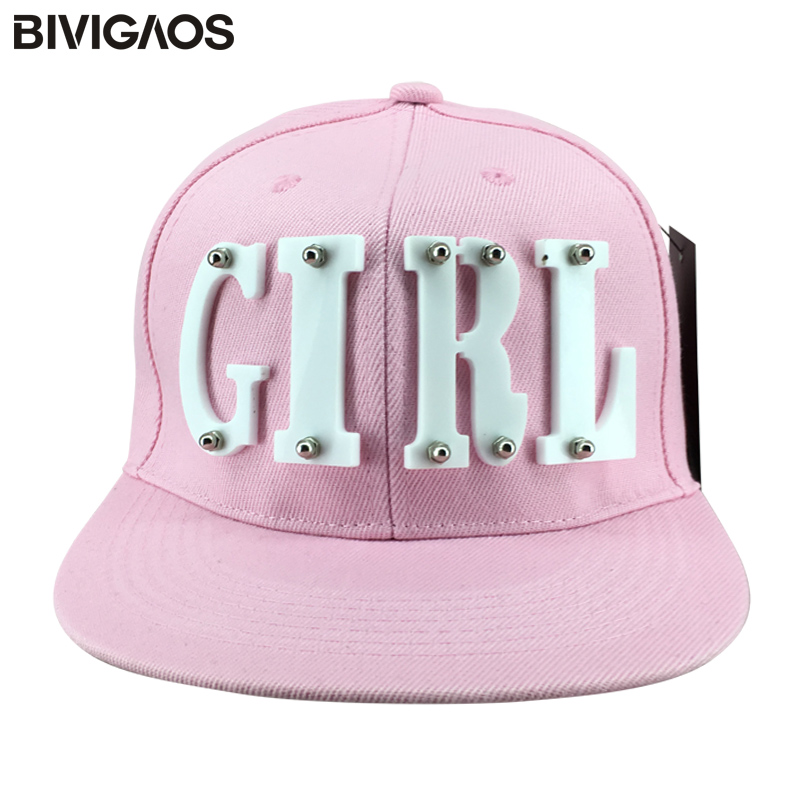 a6f58b36d62 New Fashion Summer Trend Women s Acrylic GIRL Letters Rivet Cap Flat Brim  Hat Hip hop Hats