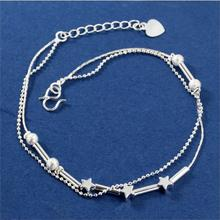 2016 New Fashion Girls Silver Plated Star Beads Anklets Fine Jewelry Charm Friendship Bracelets for woman