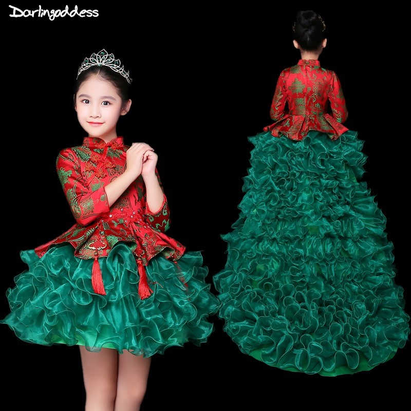 4dbbf169a93 Red Green Flower Girl Dresses for Weddings High Low Long Sleeve Pageant  Dress for Girls Ball