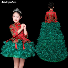 Red Green Flower Girl Dresses for Weddings High Low Long Sleeve Pageant Dress for Girls Ball Gown Baby Kids Evening Party Dress children pageant evening ball gowns girls party dress kids elegant glitz red yellow blue emerald green flower girl dresses