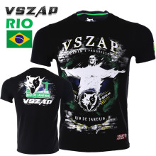 VSZAP Men Tshirts Brazil Jesus Printed Tops UFC Fitness T-shirt MMA Fight Muay Thai Fighting Martial Arts Sporting Sanda S-4XL