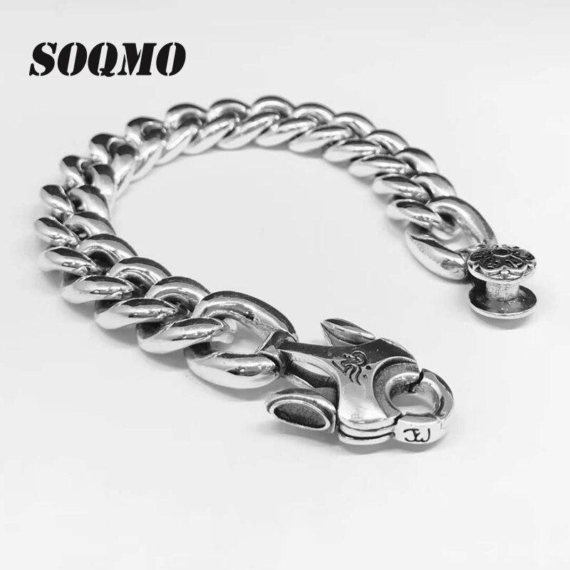 SOQMO Couple Bracelet 100% 925 bijoux en argent Sterling hommes femmes bouddha coeur Sutra Mantra chaîne Bracelet Bracelet 2018 nouveau SQM132