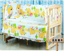 Promotion 7pcs baby bedding package cotton baby bumper baby bed set bumper duvet matress pillow