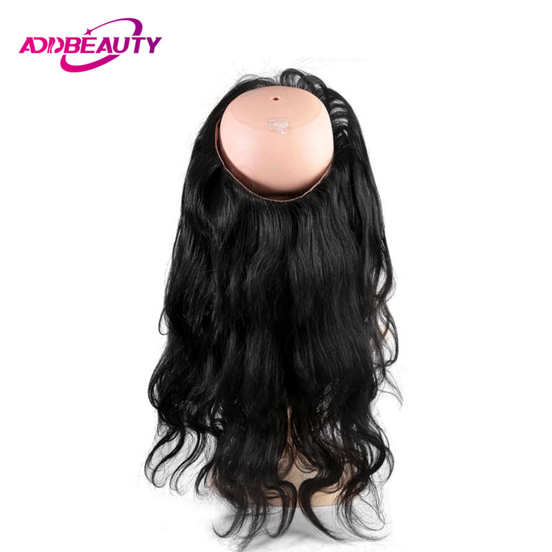 360 Swiss Lace Frontal Closure With Elastic Bangs Body Wave Brazilian Virgin Human Hair Pre Plucked Natural Color AddBeauty