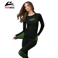 VEOBIKE Bike Thermal Underwear Set Outdoor Sports Winter Warm Tight Long Sleeve Bicycle Jerseys Sportswear Cycling Base Layers