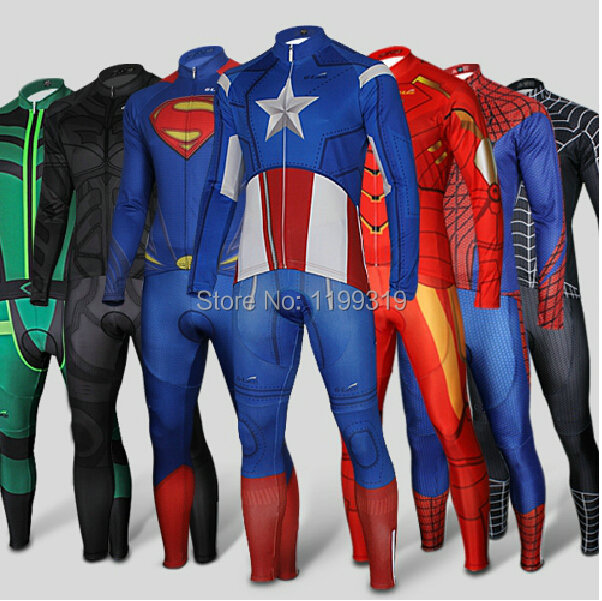 Hot Captain America Costume Superman Spider Man Batman Cycling