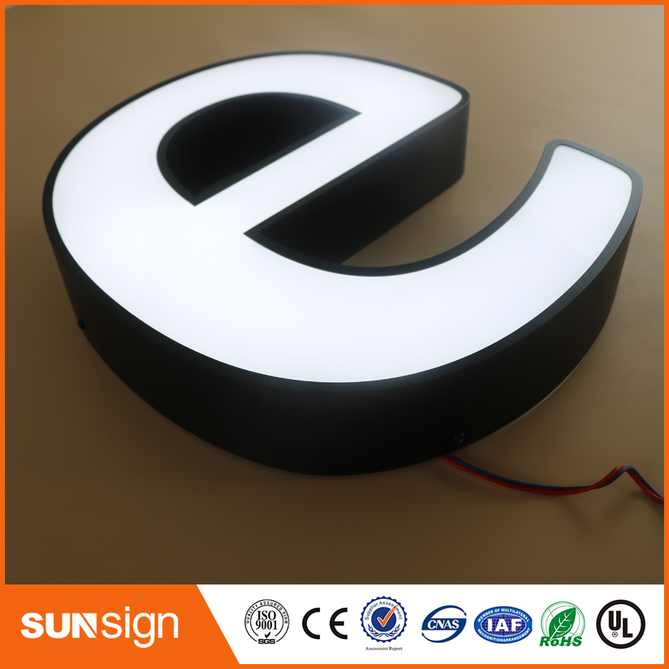 Custom Glass Acrylic Sign Outdoor Metal Luminous Led Letter Signage For Office