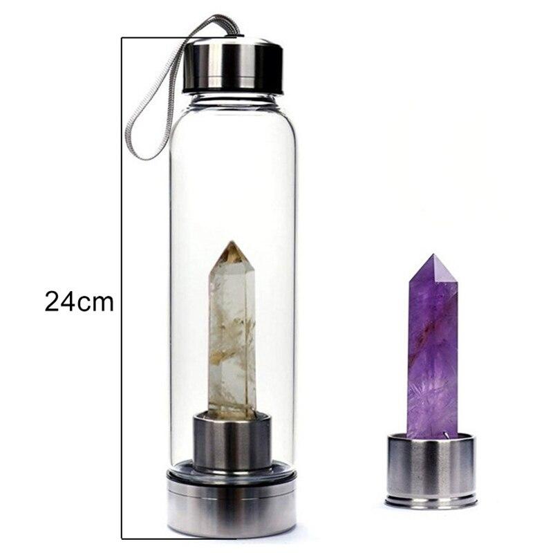 Image 3 - 500ML Natural Crystal Water Bottle Point Healing Obelisk Wand Elixir Quartz Crystal Healing Bottle Drop Ship-in Water Bottles from Home & Garden