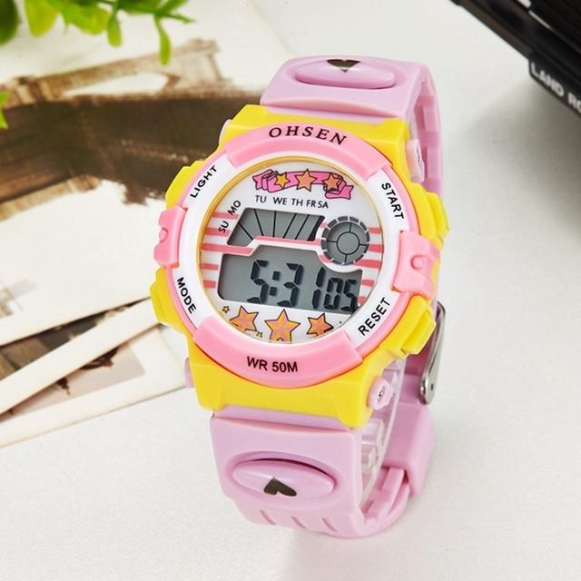 OHSEN Brand Children Sports Watches LED Digital Quartz Watch Outdoor Waterproof