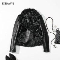 2018 Jactets Genuine Leather Women Black Wool lapel Bomber Outwear Lambskin Clothes Ladies Real Sheepskin Winter Coat Women