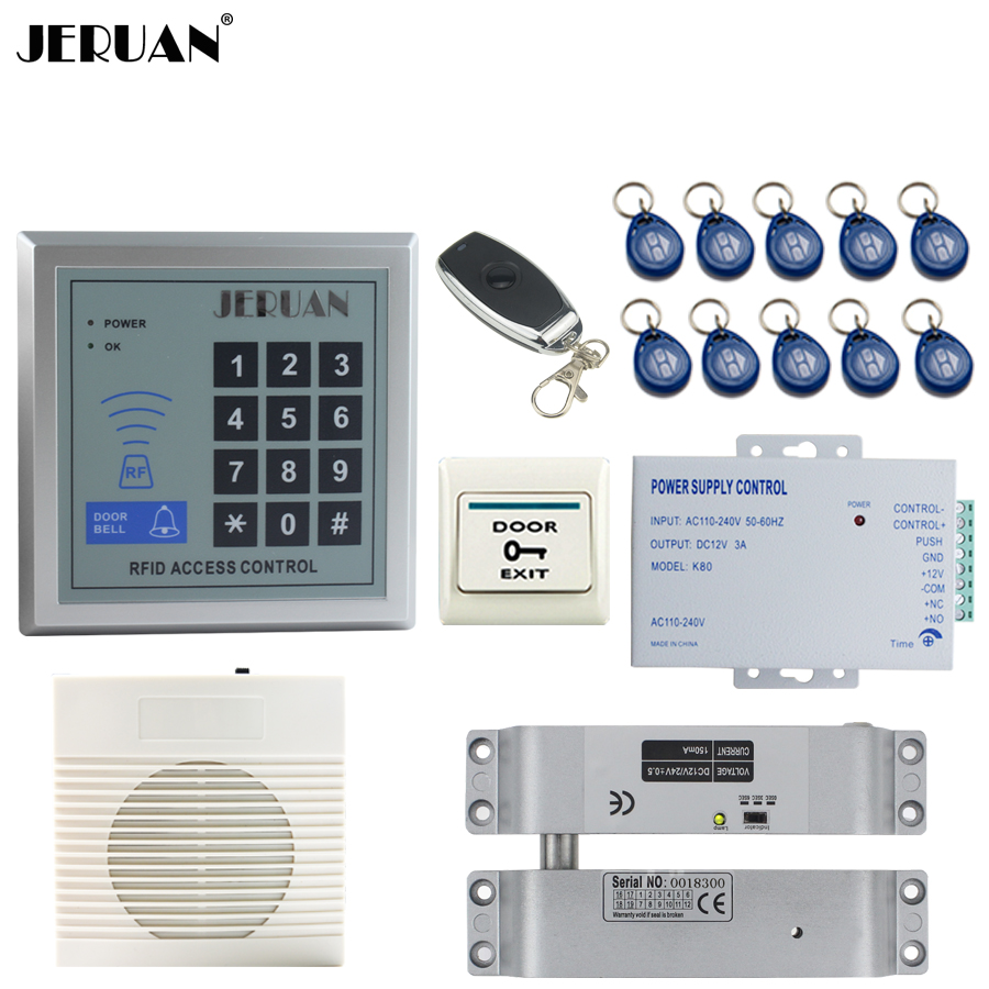 JERUAN RFID Password Access Controller system kit+Speaker doorbell+Remote control+Exit Button+In stock Free shipping 45