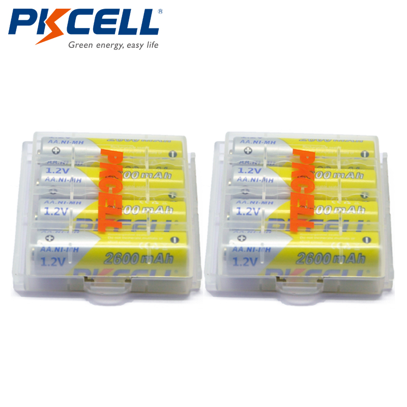 все цены на 8pcs PKCELL Battery NIMH AA 2600Mah 1.2V 2A Ni-Mh Rechargeable Batteries AA Bateria Baterias + 2pcs Battery Hold Case Boxes онлайн