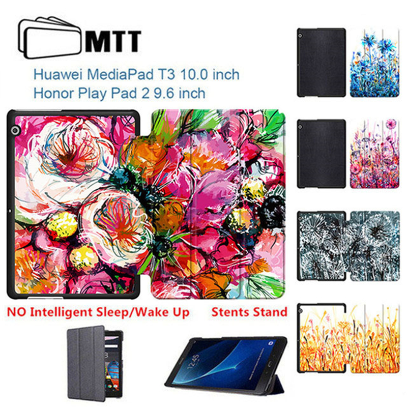 Painting Dandelion Skin Honor Play Pad 2 9.6 Flip PU Leather case Cover for Huawei Mediapad T3 10 AGS-L03/L09/W09 tablet case durable retro style solid color flip pu leather wallet case for huawei honor 8 pro