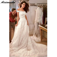 robe de mariee Dreamed Lace Wedding Dresses 2019 Off the Shoulder Strapless Romantic Princess Wedding Gowns Ivory Bridal Dress