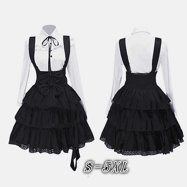Women's Classic Lolita Dress Vintage Inspired Women's Outfits Cosplay Anime Girl Black Long Sleeve Knee Length Shirt Dress S-5XL