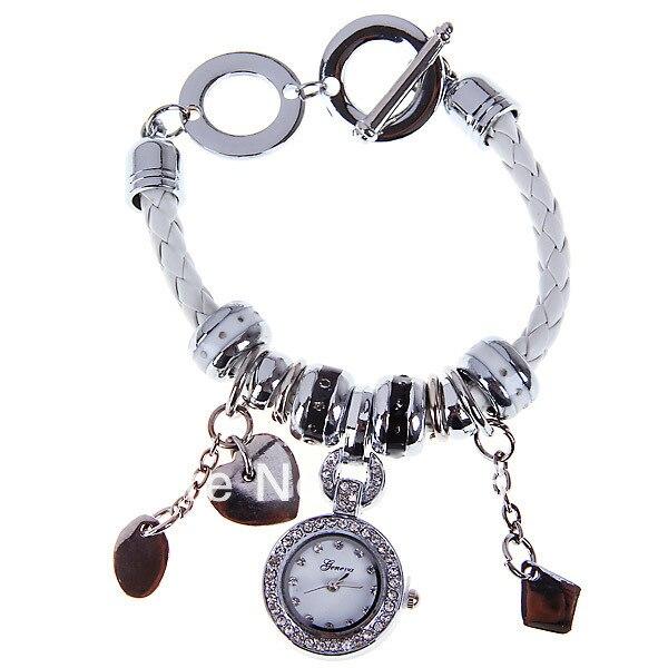 Original PictureGeneua Quartz Watch with Diamonds Dots Indicate Leather Watchband for Women -White