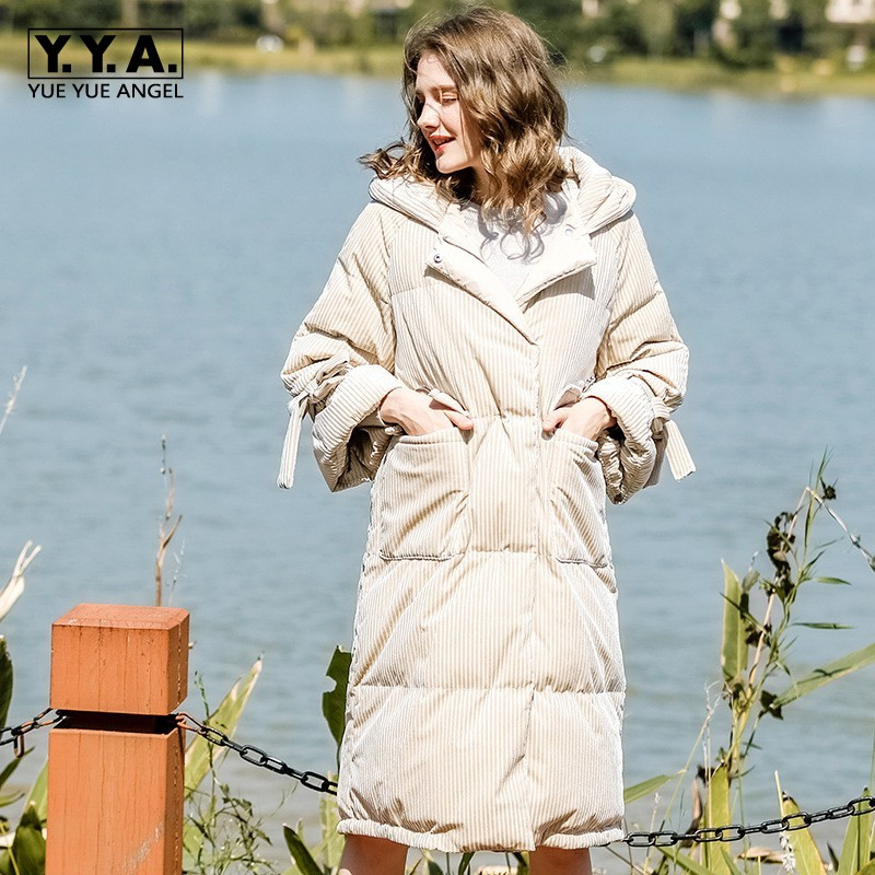 2019 New Designer Loose Hooded Lace Up Women   Down     Coats   Thick Warm High Quality 90% White Duck   Down   Jacket Long Overcoats Female