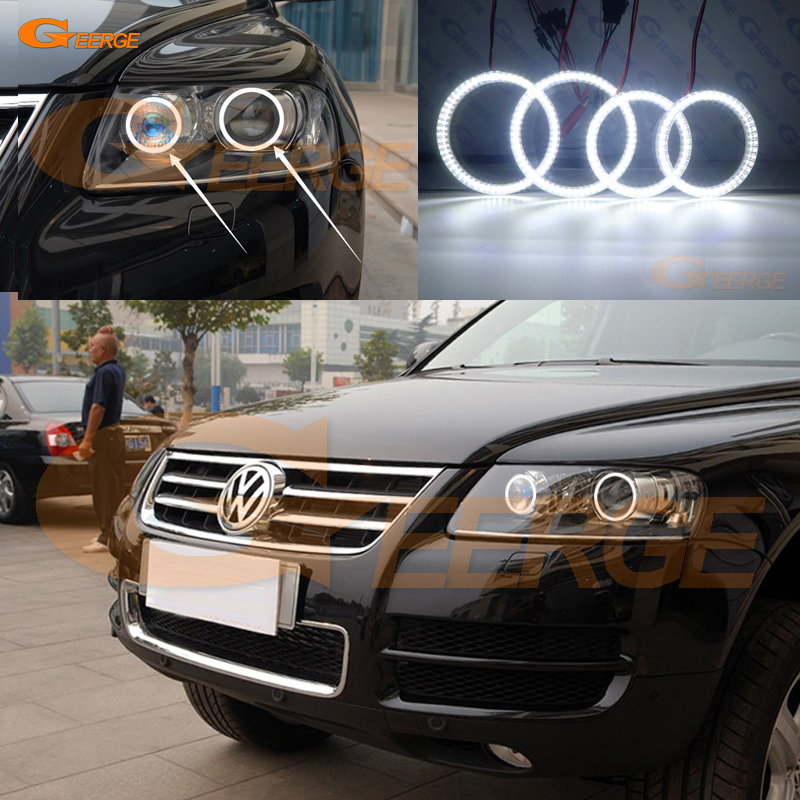 цена на For Volkswagen VW TOUAREG 2004 2005 2006 2007 XENON HEADLIGHT Excellent led angel eyes Ultra bright smd led Angel Eyes kit DRL