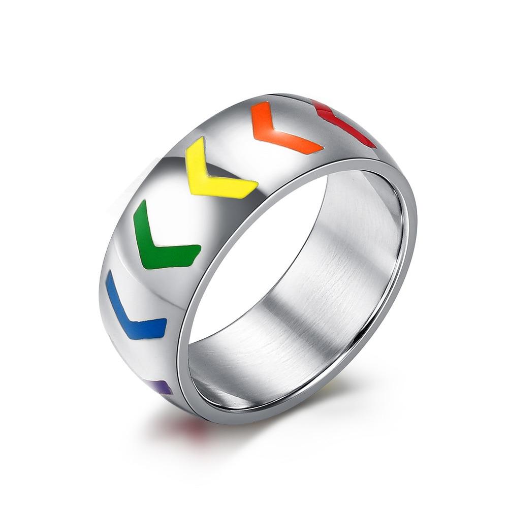 8mm stainless steel ring for women men resin arrow rainbow wedding rings love gay lesbian - Rainbow Wedding Rings