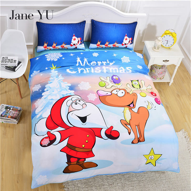 JaneYU Luxury Christmas Tree Deer Gifts Bedding Set Twin/Queen/King Size Soft Duvet CoverS Pillowcase + Dvet CoverJaneYU Luxury Christmas Tree Deer Gifts Bedding Set Twin/Queen/King Size Soft Duvet CoverS Pillowcase + Dvet Cover