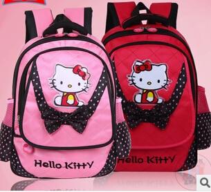 Hello Kitty School bags new 2014 convas primary cartoon fashion bolsa mochila infantil child Cute Backpack Kid Girl qq692  -  trade bags store