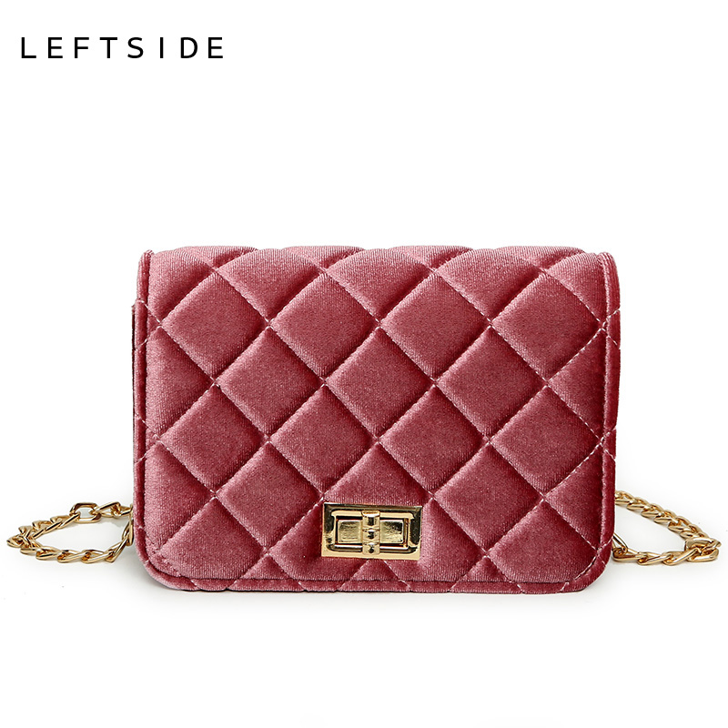 LEFTSIDE Mini Suede Handbags For Women Quilted Velour Cross Body Bags Chain Girls Small Handbags Popular Velvet Shoulder Bag velour beauty women design handbag chain shoulder bag mini small velvet crossbody satchel female messenger bags gift for girls