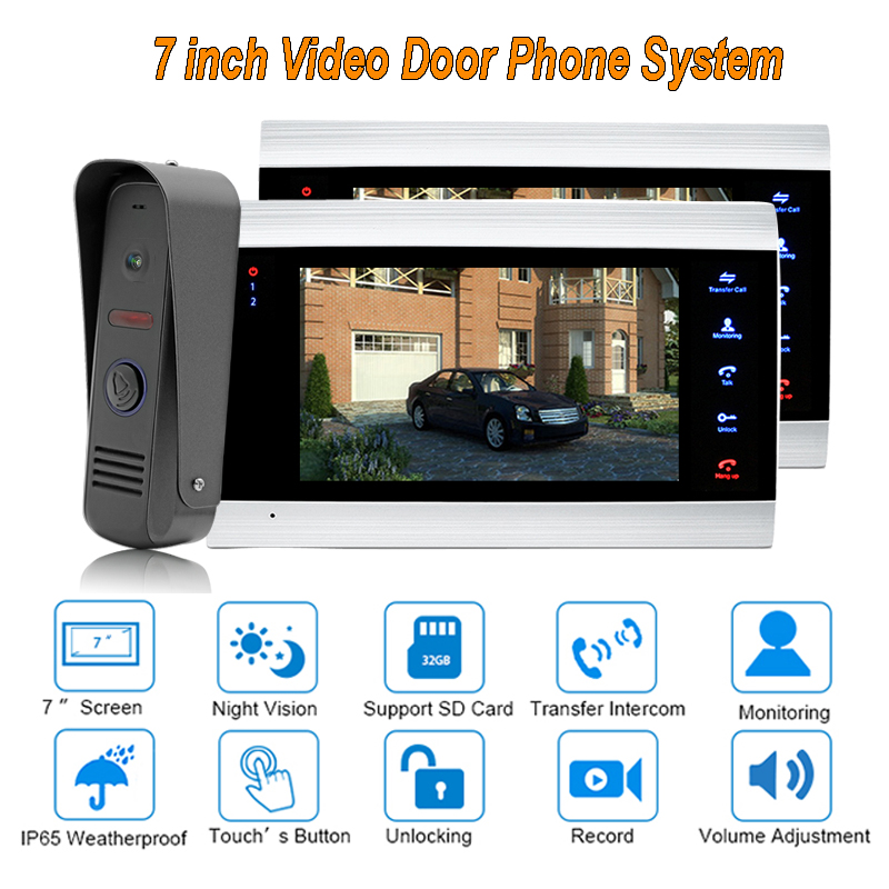 New Doorbell Video Door Intercom System 7 TFT 1200TVL Home Security with IP 65 Rainproof 1 camera 2 monitors yobang security free ship 7 video doorbell camera video intercom system rainproof video door camera home security tft monitor