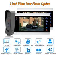 New Doorbell Video Door Intercom System 7 TFT 1200TVL Home Security with IP 65 Rainproof 1 camera 2 monitors