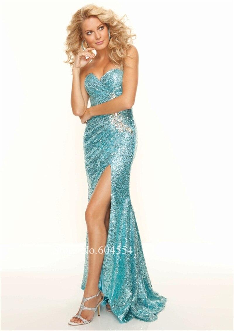 Vestido De Noche 2017 Custom Made Blue Sequin Shiny Beading Crystal ...