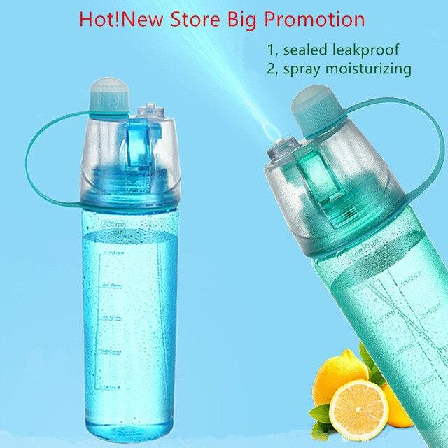 En plastique boisson bouteille d'eau Creative Bouton Brouillard de Pulvérisation Bouteille En Plein Air Vélo Vélo sport bouteille d'eau