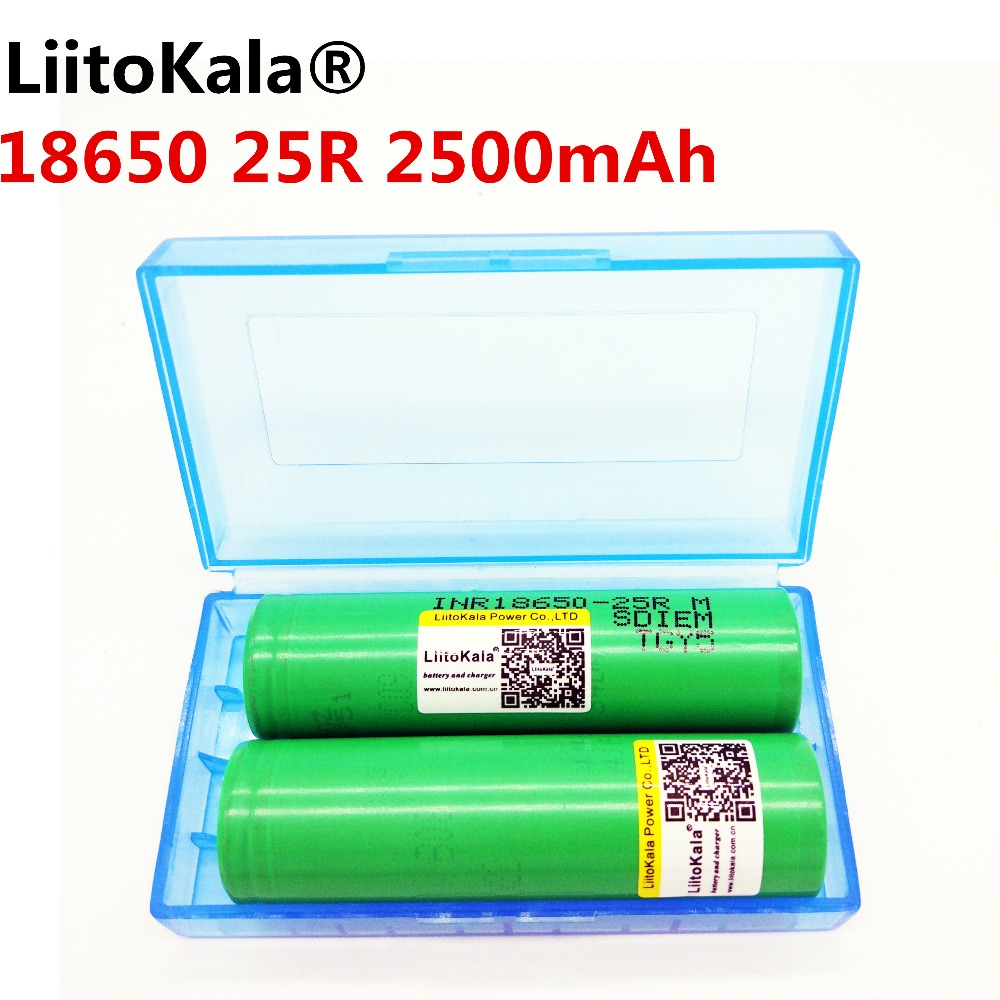 2PCS <font><b>LiitoKala</b></font> 25RM <font><b>18650</b></font> Battery For Electronic Cigarette Box Mod vaporizer Vape INR18650 <font><b>25R</b></font> Battery Rechargeable image