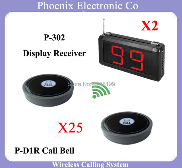 433.92 mhz sem fio botão de chamada do sistema Com 2 pcs Tela de Exibição e 25 pcs Garçom Chamada Pager