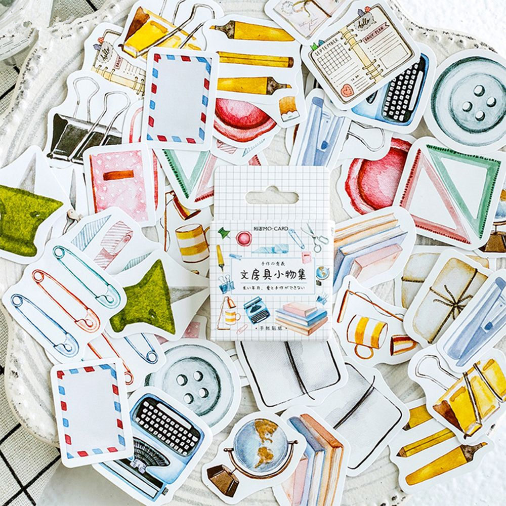 46pcs/box DIY Cute Journal Stickers Stationery Stickers Decorative Adhesive Stickers Scrapbooking Diary For Photo Album