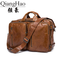 QiangHao 100 Genuine Leather Men Bags Fashion Man Crossbody Shoulder Handbag Men Messenger Bags Male Briefcase