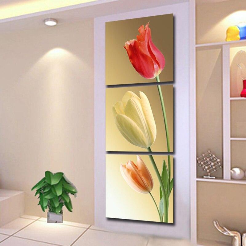 Canvas HD Prints Pictures Home Decor 3 Pieces Color Elegant Tulips ...