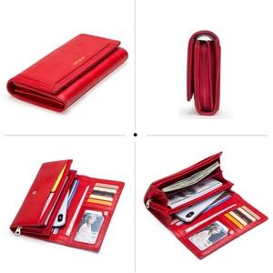 Image 4 - Contact en cuir véritable femmes portefeuille femme porte monnaie Portomonee pince pour sac dargent porte carte téléphone poche longs portefeuilles