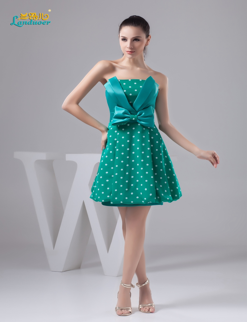 Boho Short Prom dresses 2016 Green polka dot strapless ...