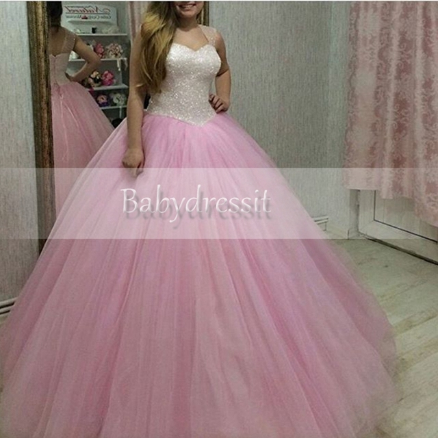 29360b255 Hot Sell Pink Sweetheart Girl Puffy Tulle Quinceanera Dresses Sparkly  Beading Floor Length Backless Sweet 16
