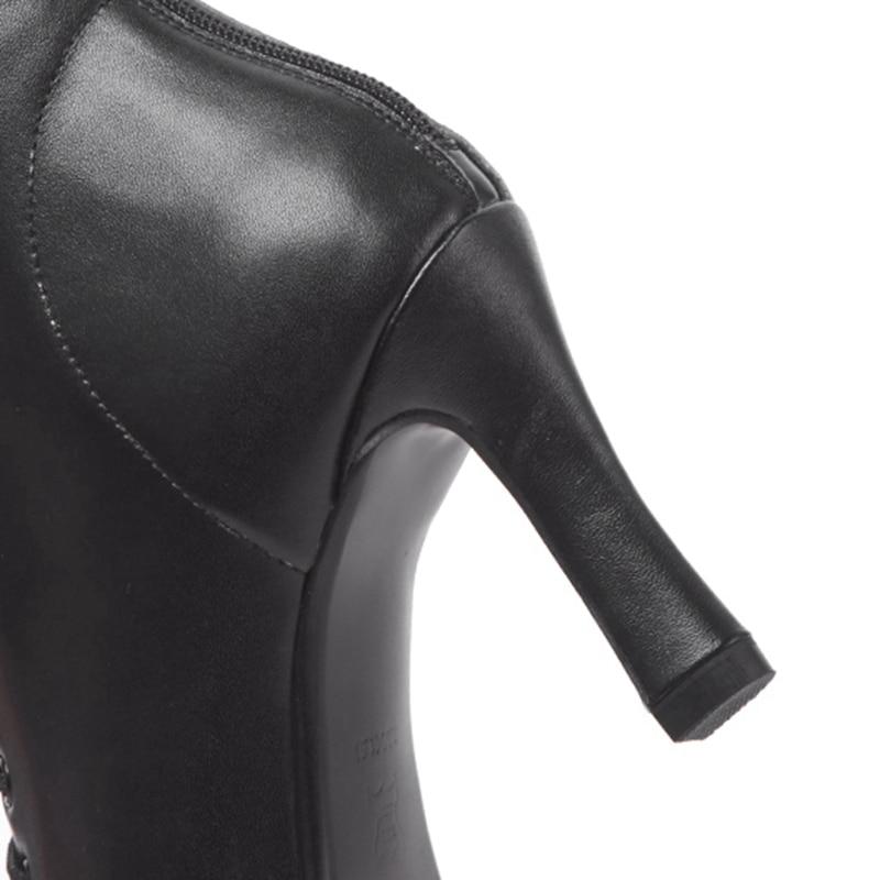 black Lacets Enmayer Mince Pour Carré Femmes Solides Courtes Bottes Bout Apricot Chaussures Talon Zyl934 Bottines Talons Hauts À qrTqYSn