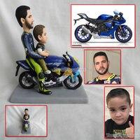 OOAK пользовательские полимерная глина куклы папа и я ездить на мотобайк Мотоцикл идея подарка для мотоциклистов детский подарок для папы ве