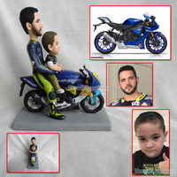 OOAK custom polymer clay doll dad and i ride on motobike motorcycle gift idea for motorcyclist kids gift for dad party favor