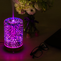 LED 3D Table Lamp Colorful Fireworks Night Light Air Humidifier Mist Ultrasonic Sprayer For Bedroom Hotel Bar Aromatherapy Light