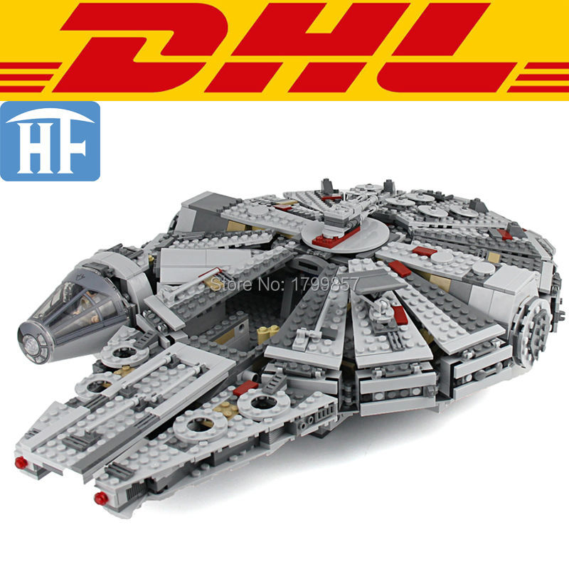 ФОТО 1381Pcs Star Wars The Force Awakens Millennium Falcon Model Building Kits Blocks Bricks Toy For Children Compatible With 75105