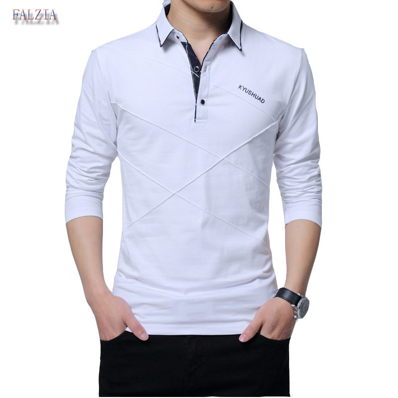 FALIZA 2018 New Brand   Polos   Shirt Men Spring Fashion Solid Color Mens   Polos   Shirt Long Sleeve Solid Color Casual Male Shirt TX-A