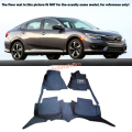 For Honda Civic 10th Gen 4dr Sedan 2016 Left Hand Drive! Black red grid Front Rear Floor Mat Carpets Pad Cover